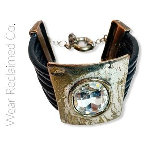 VINTAGE Leather and Metal Cuff Bracelet  